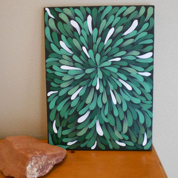 Original Painting Green Aboriginal Inspired by Acires on Etsy