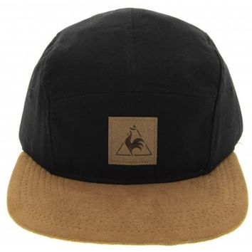Le Coq Sportif Rohnerie 5 Panel Fixie Cap in Black - Glue Store