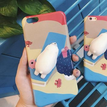 Squishy Phone Case Cute Polar Bear For iPhone 5, 5s, SE, 6, 6s, 6 Plus, 6s Plus, 7, 7 Plus