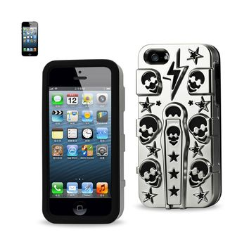 New Hybrid Skulls Case With Kickstand In Black For iPhone SE/ 5S/ 5 By Reiko