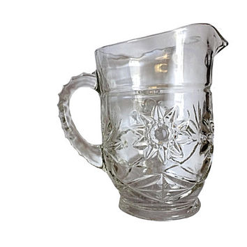 Anchor Hocking, Prescut Clear, Glass Pitcher, Hocking Glass, Hocking Pitcher, Anchor Hocking Star, Starburst Pitcher, Vintage Glass, Glass