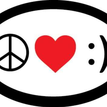 Peace Love Happiness oval