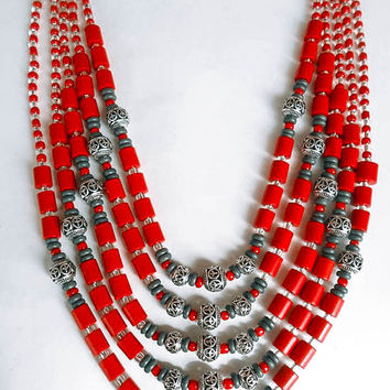 Woman Coral Beaded Tibetan Necklace. Ethnic Red Gray Beads. Handmade. Tribal Multi-Strand Necklaces For Women. Three Snails. Free Shipping!