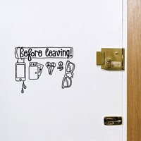 Exclusive functional wall sticker decal Before Leaving checklist reminder for exit door by Antoine Tesquier Tedeschi for Hu2 Design