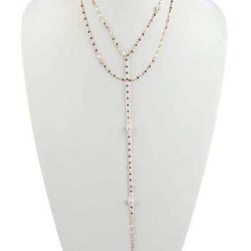 Alice Pearl Charm Two Strand Drop Necklace