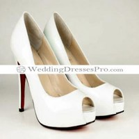 Beautiful White Peep-toes Sheepskin Wedding Shoes [TWeddingSM03300205] - $67.99 : wedding fashion, wedding dress, bridal dresses, wedding shoes