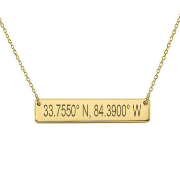"14k Gold Coordinate bar necklace 1"" inch 14k solid gold pendant Personalize nameplate with Latitude or GPS coordinates"
