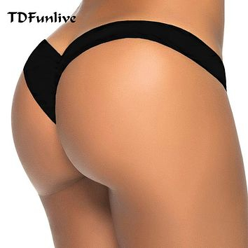 2017 new hot sale black V shape sexy brazilian bikini bottom women swimwear swimsuit trunk tanga micro briefs Panties Underwear