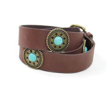 Turquoise Stone Belt in Brown