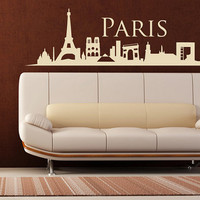 rvz1003 Wall Vinyl Sticker Bedroom Decal Paris France Skyline Town City