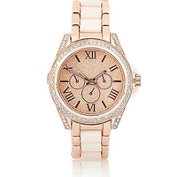 River Island Womens Rose gold tone glitter face rhinestone watch
