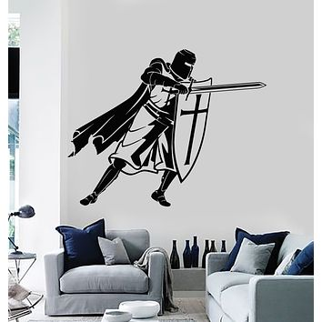 Vinyl Wall Decal Crusader Medieval Knight Shield And Sword Warrior Stickers Mural (g1392)