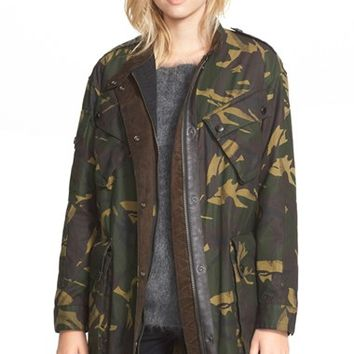 Women's Burberry Brit 'Tomsdale' Camo Print Waxed Cotton Coat,