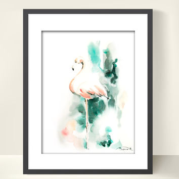 Pink Flamingo Art Print from Watercolor Painting, Flamingo Painting, Abstract, Bird Art, Bird Painting, Wall Art