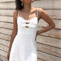 White Cami Front Knot Dress