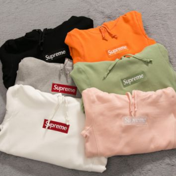 New Supreme 2017 F/W Box Logo Hoodie Size S,M,L, XL Sweater Hip-hop Sweatshirts