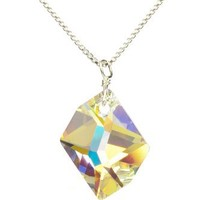 Sterling Silver Swarovski Elements Crystal Aurora Borealis Cosmic Pendant Necklace, 18""