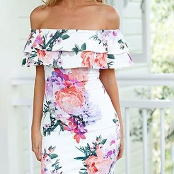 Lover's Holiday White Pink Purple Green Floral Tiered Off The Shoulder Mini Dress