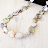 Mother of Pearl Shell Bead Necklace Iridescent Beige Silver Handmade Jewelry Beach Ocean Gray Green Pink Blue