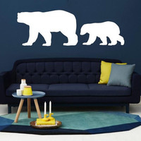 Wall Decal Vinyl Sticker Decals Art Decor Design White Polar Bears North Animals Snow Cold Antarctica Bedroom Living Room Bathroom (r167)