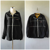 tommy hilfiger windbreaker jacket | vintage 90s black nylon sporty athletic coat men size m/medium vaporwave cyber ghetto polo hip hop 1990s