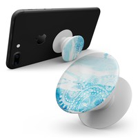 Vivid Blue Abstract Washed - Skin Kit for Pop Sockets and other Smartphone Extendable Grips & Stands