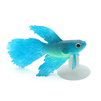 Fluorescent Simulation Goldfish Aquarium Decorations with Sucker Cup for Fish Tank Blue