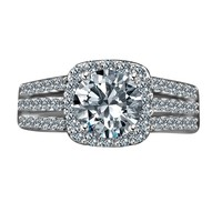 Radiant Round 2 CT. Split Shank Paved Square Halo Simulated Diamond - Diamond Veneer Sterling Silver Engagement/ Wedding Ring 635R4009