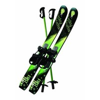 Lucky Bums Kid's Beginner Snow Skis and Poles, 70-cm, Green/Black