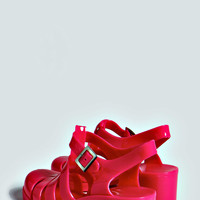 Frances Block Colour Heel Jelly Shoes