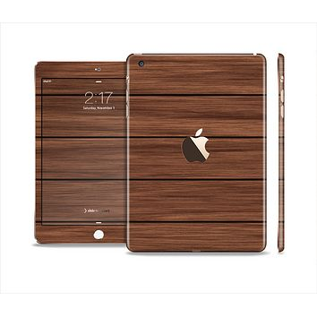 The Dark-Grained Wood Planks V4 Full Body Skin Set for the Apple iPad Mini 3