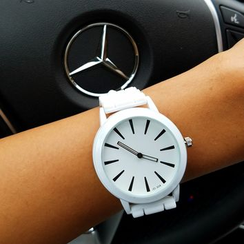 White Black Silicone Watch