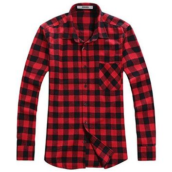 OCHENTA Men's Button Down Long Sleeve Plaid Flannel Shirt N056 Red Black Asian 3XL - US L