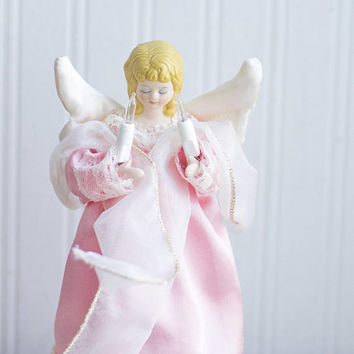 Vintage Light Up Angel Tree Topper, Pink Satin Gown with Satin wings and lace, Retro Christmas Decor, 1970s