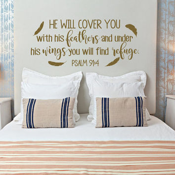 PSALM 91:4 He Will Cover You With His Feathers Bible Verse Wall Decal- Scripture Wall Decal- Family Wall Decal- Christian Wall Art #110