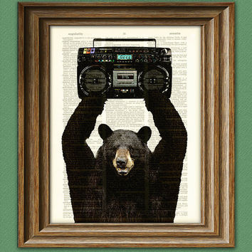 Lloyd the BLACK BEAR with a BOOMBOX dictionary by collageOrama
