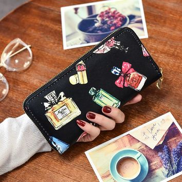 2017 Perfum Fashion Envelope Women Wallet Cat Flower Cartoon Wallet Long Creative Female Card Holder PU wallet coin purses Girls
