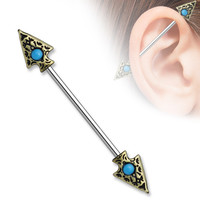 Turquoise set Tribal Spear on Both sides 316L surgical Steel Industrial Barbells 14ga