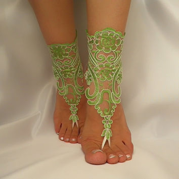 Lime green  ivory frame,bridal anklet, ivory frame Beach wedding barefoot sandals,bangle, wedding anklet, free ship, anklet, bridal, wedding