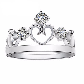 Exquisite One Piece Crown Ring - Platinum
