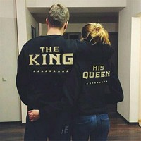 Fashion Love Matching Men Women Sweatshirts Couple Long Sleeve Loose Hoodies Tops Hoodies And Sweatshirt King Queen Printing