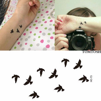 New Hot Women Sexy Finger Wrist Flash Fake Tattoo Stickers Liberty Small Birds Fly Design Waterproof Temporary Tattoos Sticker