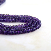 Amethyst Rondelle Gemstone Purple Amethyst Faceted 3mm 150 beads Full Strand Wholesale