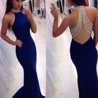 Navy Blue Long Mermaid Prom Dresses 2017 Halter vestido de festa Beading Evening Dress Jersey Sheer Back In Fashion M554