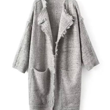 Béatrice Heather Grey Marl Longline Frill Knitted Cardigan