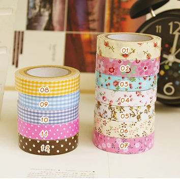 Choose Your Fabric Tape - 5m (5.5 yard) - Cotton Fabric Tape - Adhesive Deco Tape