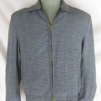 1940s 1950s Blue Mens Plaid Vintage Reversible Gab Ricky Jacket Coat