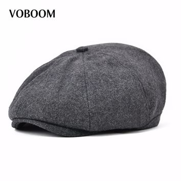 VOBOOM Women Men Woolen Newsboy Cap 8 Panel Country Baker Boy Ivy Flat Cap Beret Hats Boina 111