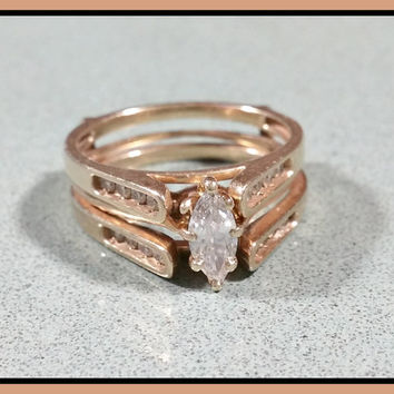 Vintage Marquise Cut Diamond Ring Wedding Set .34 ct 1/3 ct Diamond Solitaire 14k Gold 16 Accent Diamonds + Enhancer Ring Guard Lovely Set!