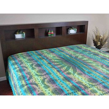Handloom Cotton Striped Overprint Celestial Tapestry Beadspread Coverlet Beach Sheet Bed Sheet Throw Green Twin